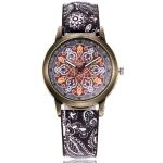 W0800 Retro Flower Pattern Leather Belt Quartz Watch(D)