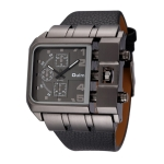 Oulm 3364 Men Square Dial Leather Belt Quartz Watch(Black)