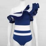 2 PCS Women Sexy One-shoulder Ruffled Striped Split Bikini Swimwear, Size:L(Blue)