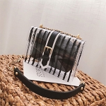 Striped Clear Transparent PVC Women Messenger Bag Chains Candy Color Summer Beach Bag Handbag(Black)
