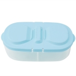 Fresh Fruit Snacks Storage Double Cell Clamshell Crisper Plastic Food Box(Blue)