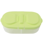 Fresh Fruit Snacks Storage Double Cell Clamshell Crisper Plastic Food Box(Green)
