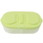 Fresh Fruit Snacks Storage Double Cell Clamshell Crisper Plastic Food Box(Green)