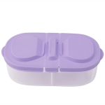Fresh Fruit Snacks Storage Double Cell Clamshell Crisper Plastic Food Box(Purple)