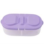 Fresh Fruit Snacks Storage Double Cell Clamshell Crisper Plastic Food Box(Purple)