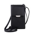 Summer Women Phone Shoulder Bag  PU Leather Money Wallet  Mini Chain Mobile Crossbody Bag(Black)