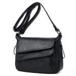 Summer Leather Luxury Handbags Female Shoulder Messenger Bag(Black)