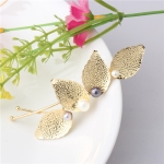 Four Leaves Pearls Wave Woman Hair Pins Exquisite Hair Jewelry Hair Accessories(Gold)
