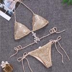 Sexy Sequined Bandage Split Bikini Swimsuit for Women, Size:L(Gold)