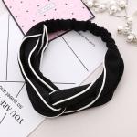 3 PCS Cross Shaped Headbands Striped Women Accessories Fashion Lovely Headwear(Black)