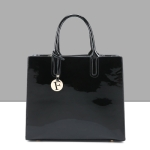 Bright Solid Patent Leather Women Fashion Simple Luxury Handbags Casual Shoulder Messenger Bags Tote bag(Black)