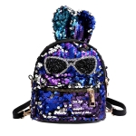 Sequins Shoulder Bag Student Children School Bag(Blue)