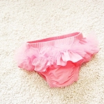 Baby Girls Mesh Shorts Swimsuit, Size:XL (5-6 Years Old)(Pink)
