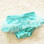 Baby Girls Mesh Shorts Swimsuit, Size:XL (5-6 Years Old)(Blue)