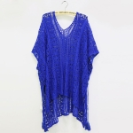 Women Cotton Lace Swimsuit Cover-up(Blue)