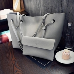 2 in 1 Soft Leather Women Bag Set Luxury Fashion Design Shoulder Bags Big Casual Bags Handbag(Grey)