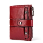 Genuine Leather Female Coin Small Walet Zipper Money Bag Mini Card Holder(Red )