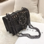 PU Leather Women Handbag Rivet Lock Chain Shoulder Messenger Bags(Black)
