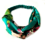 Floral Fabric Headdress Cross Elastic Headband Hair Accessory(Green)