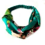 Floral Fabric Headdress Cross Elastic Headband Hair Accessory(Green)