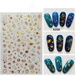 5 PCS Star Moon Sticker Laser Nail Art Nail Sticker, Color:R208 laser gold