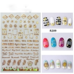 5 PCS Star Moon Sticker Laser Nail Art Nail Sticker, Color:R209 laser gold