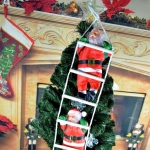 3 PCS Christmas Pendant Ladder Santa Claus Doll Tree New Year Ornaments(25cm 2 person)