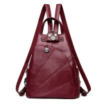 Women Anti-theft Leather Backpacks Ladies Backpacks(Wine Red)