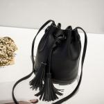 Fringed Bags For Women Drawstring Buckets Single Women Messenger Bag(Black)