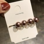 2 PCS Fashion Imitiation Pearl Hair Clip Girls Handmade Pearl Flowers Hairpins(Champagne clip)
