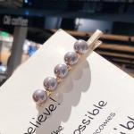 2 PCS Fashion Imitiation Pearl Hair Clip Girls Handmade Pearl Flowers Hairpins(Grey duckbill clip)