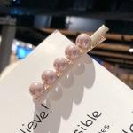 2 PCS Fashion Imitiation Pearl Hair Clip Girls Handmade Pearl Flowers Hairpins(Light purple duckbill clip)