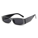 Square Sunglasses Women Imitation Diamond Lasses Fashion UV400 Sunglasses(C1)