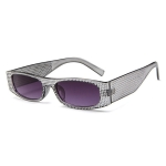 Square Sunglasses Women Imitation Diamond Lasses Fashion UV400 Sunglasses(C3)