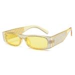 Square Sunglasses Women Imitation Diamond Lasses Fashion UV400 Sunglasses(C4)