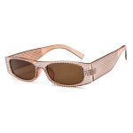 Square Sunglasses Women Imitation Diamond Lasses Fashion UV400 Sunglasses(C7)