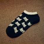 Cotton Summer Cat Thin Short Women Socks Female Cotton Low Cut Ankle Socks Ladies Cute Socks(Black kitten)