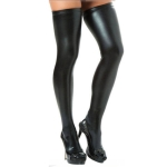 Sexy Women Over Knee Thigh High Tights Stockings Long PU Leather Stockings(Black)