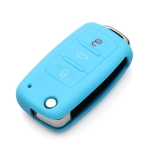 2 PCS Silicone Car Key Cover Case for Volkswagen Golf(Blue)