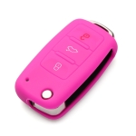 2 PCS Silicone Car Key Cover Case for Volkswagen Golf(Pink)