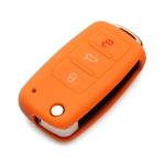 2 PCS Silicone Car Key Cover Case for Volkswagen Golf(Orange)