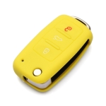 2 PCS Silicone Car Key Cover Case for Volkswagen Golf(Yellow)
