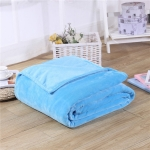 Solid Color Flannel Coral Fleece Blanket Super Soft Plaid Coverlet Sofa Cover Winter Warm Sheets Easy Wash Faux Fur Blankets, Size:180x200cm(Sky blue)