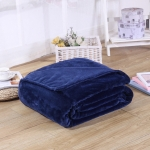 Solid Color Flannel Coral Fleece Blanket Super Soft Plaid Coverlet Sofa Cover Winter Warm Sheets Easy Wash Faux Fur Blankets, Size:100x140cm(Dark blue)