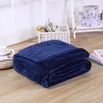 Solid Color Flannel Coral Fleece Blanket Super Soft Plaid Coverlet Sofa Cover Winter Warm Sheets Easy Wash Faux Fur Blankets, Size:100x140cm(Dark blue)