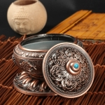 Unique Mosquito Incense Burner Mosquito Coil Holder with Metal Mesh Cover(Red Bronze)