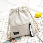 Fashion Canvas Drawstring Backpack Portable Casual Shoulder Knapsack(White)