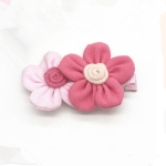 Cute Two Flowers Hairpins Girls Hair Ornaments Flora Pattern Barrettes(rose+pink)