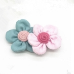 Cute Two Flowers Hairpins Girls Hair Ornaments Flora Pattern Barrettes(blue+pink)
