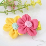 Cute Two Flowers Hairpins Girls Hair Ornaments Flora Pattern Barrettes(rose+yellow)